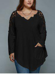 Plus Size Lace Insert Long Sleeve Tunic T-Shirt - BLACK