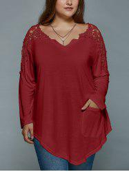 Plus Size Lace Insert Long Sleeve Tunic T-Shirt - DARK RED