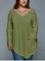 Plus Size Lace Insert Long Sleeve Tunic T-Shirt - OLIVE GREEN