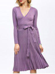 Pleated Surplice Knee Length Long Sleeve Jersey Dress