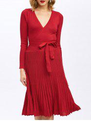 Pleated Knitted Surplice Knee Length Jumper Dress