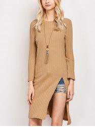 Slit Long Sleeve Casual Dress