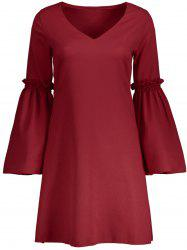 V Neck Flare Long Sleeve Shift Dress