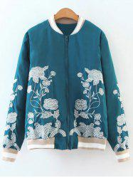 Flower Embroidered Zipper Bomber Jacket - LAKE BLUE