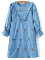 Chevron Front Embroidered Tunic Dress