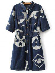 Half Sleeve Printed Denim Shirt Dress