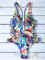 Plunge High Cut Abstract One-Piece Swimwear -