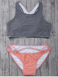 High Neck Striped Cutout Bikini Set