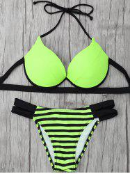 Basic Two Tone Striped Halter Bikini Set