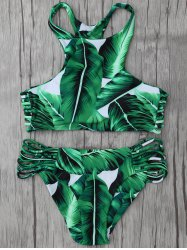 High Neck Leaf Print Racerback String Bikini Set