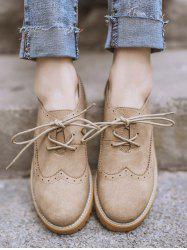 Round Toe Wingtip Flat Shoes