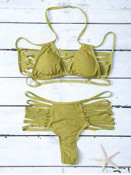 Halter Strappy Cutout Bikini Set