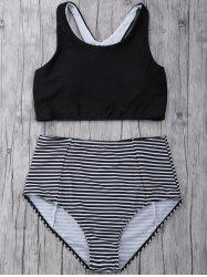 Striped High Waisted Padded Sports Bikini with Racerback Crop Top -
