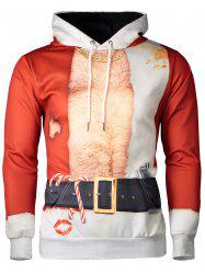 Hooded Father Christmas Costume Lip Print Hoodie - RED