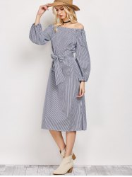 Off The Shoulder Belted Long Sleeve Dress