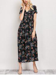 V Neck Tiny Floral Maxi Dress