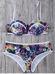 Strapless Floral Push Up Swimsuit Slip