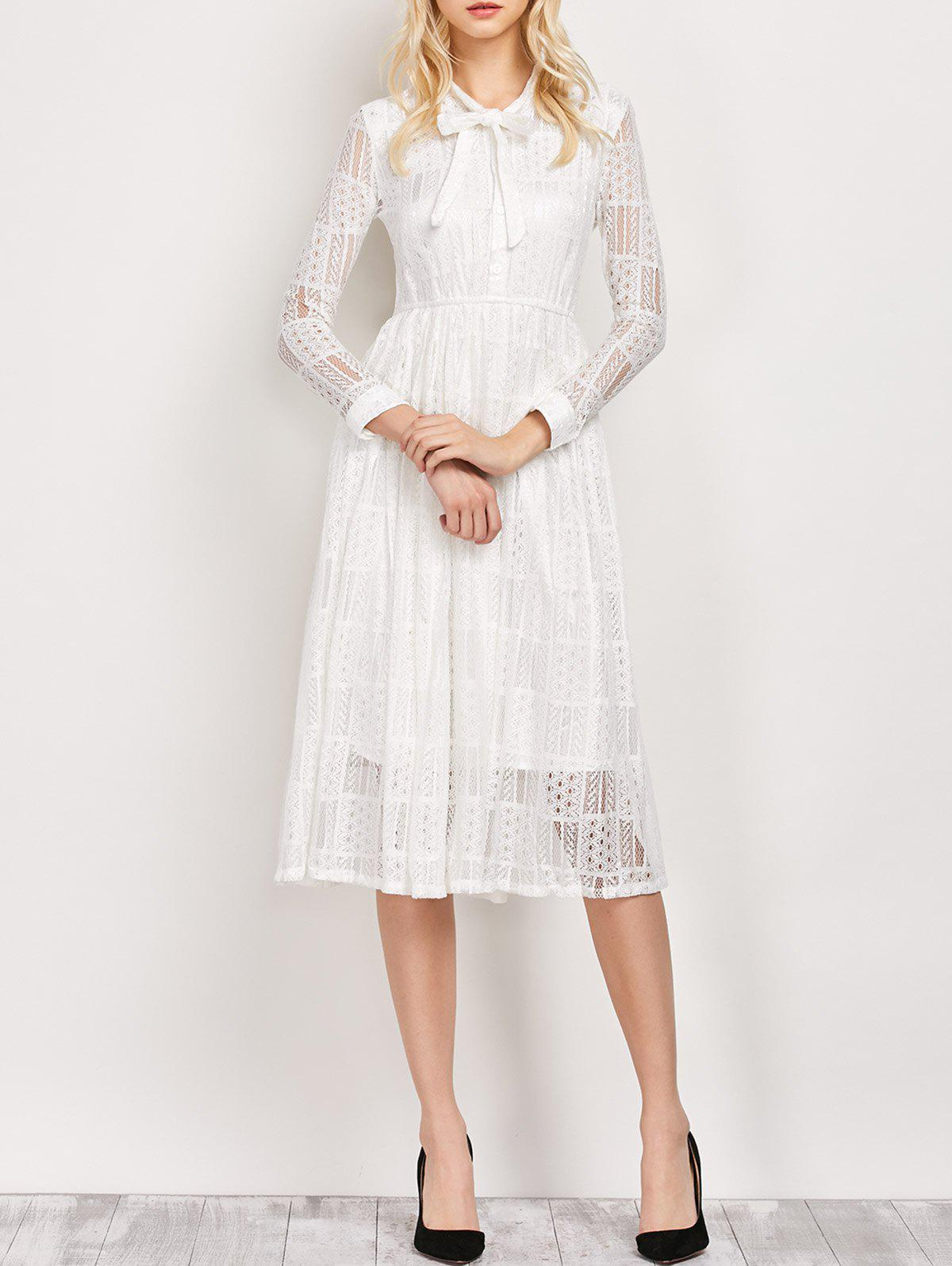 f6afeb14922f 30% OFF] Long Sleeves Pussy Bow Lace Tea Length Wedding Dress | Rosegal