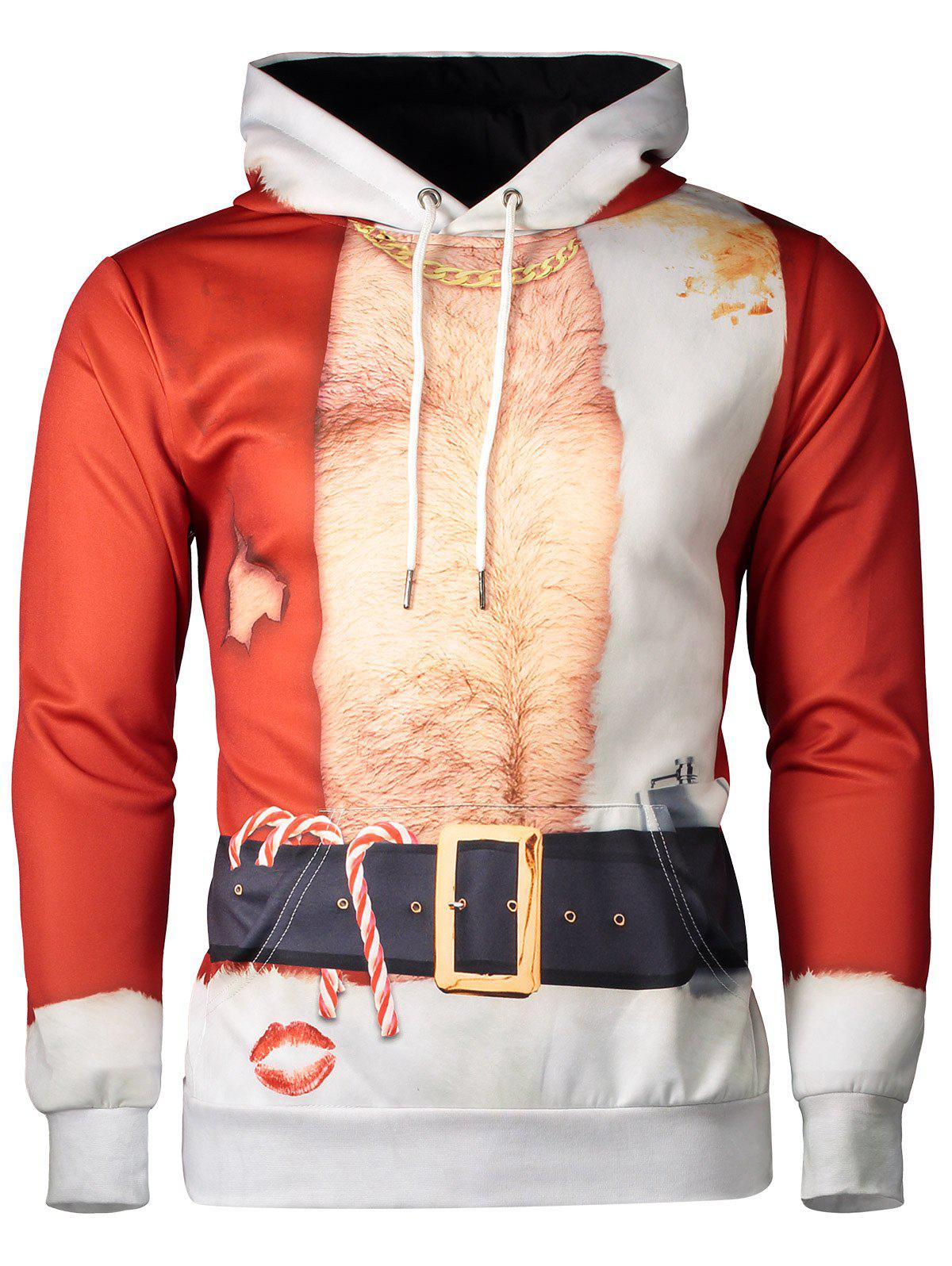 Hooded Father Christmas Costume Lip Print HoodieMEN<br><br>Size: L; Color: RED; Material: Cotton,Polyester; Shirt Length: Regular; Sleeve Length: Full; Style: Fashion; Weight: 0.550kg; Package Contents: 1 x Hoodie;