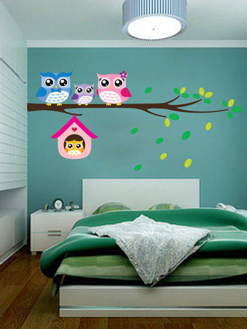 Owl Animal Removable Kids Room Cartoon Wall StickersHOME<br><br>Color: COLORFUL; Wall Sticker Type: Plane Wall Stickers; Functions: Decorative Wall Stickers; Theme: Animals,Cartoon; Material: PVC; Feature: Removable; Size(L*W)(CM): 20*60; Weight: 0.110kg; Package Contents: 1 x Wall Stickers;