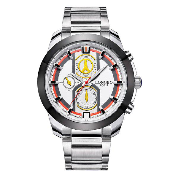 Multifunction Metal Waterproof Analog Quartz WatchJEWELRY<br><br>Color: ORANGE; Gender: For Men; Style: Formal; Type: Quartz watch; Index Dial: Analog; Case material: Alloy; Band material: Stainless Steel; Movement: Quartz; Dial Shape: Round; Water-Proof: Yes; Case Thickness(MM): 1.3cm; Band Length(CM): 25cm; Band Width(CM): 2-2.9cm; Package Contents: 1 x Watch;