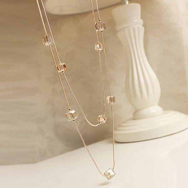 Fake Crystal Cubes Sweater ChainJEWELRY<br><br>Color: GOLDEN; Gender: For Women; Metal Type: Alloy; Style: Trendy; Shape/Pattern: Geometric; Length: 80CM; Weight: 0.055kg; Package Contents: 1 x Sweater Chain;