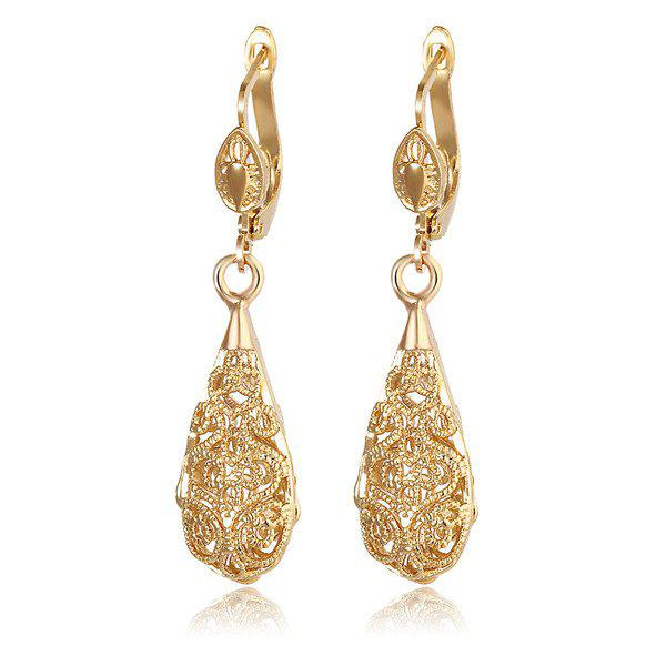 Hollow Out Vintage Engraved Teardrop EarringsJEWELRY<br><br>Color: GOLDEN; Earring Type: Drop Earrings; Gender: For Women; Style: Trendy; Shape/Pattern: Water Drop; Weight: 0.040kg; Package Contents: 1 x Earring (Pair);