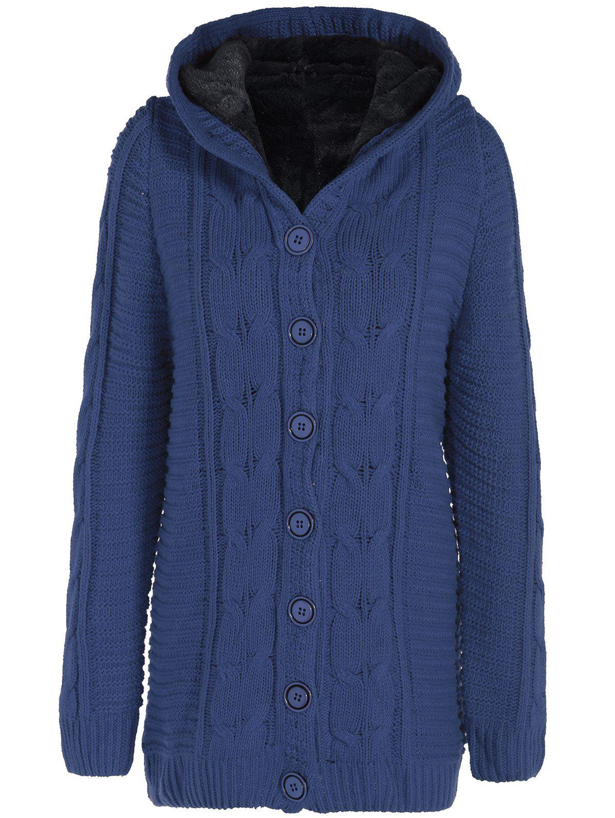 25841761f4d Denim Blue One Size Hooded Flocking Cable Knit Coat