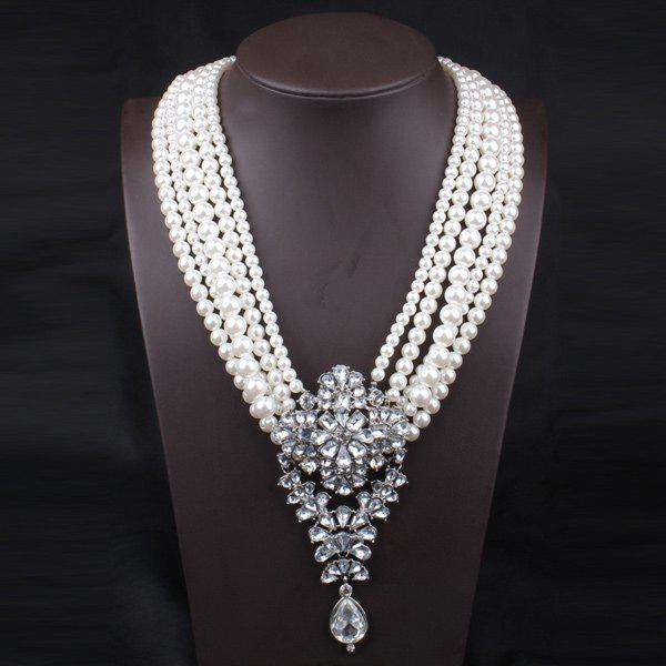 Fake Pearl Flower Crystal Beaded Layered NecklaceJEWELRY<br><br>Color: PEARL WHITE; Item Type: Pendant Necklace; Gender: For Women; Material: Rhinestone; Metal Type: Alloy; Style: Noble and Elegant; Shape/Pattern: Floral; Length: 61CM; Weight: 0.200kg; Package Contents: 1 x Necklace;