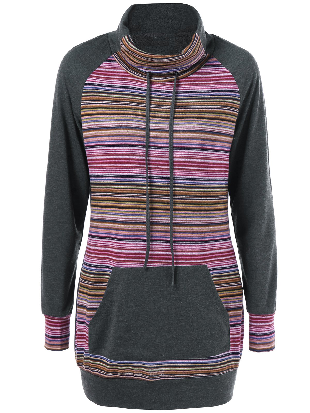 Striped Turtleneck Kangaroo Pocket SweatshirtWOMEN<br><br>Size: XL; Color: GRAY; Material: Polyester,Spandex; Shirt Length: Long; Sleeve Length: Full; Style: Fashion; Pattern Style: Striped; Season: Fall,Spring,Winter; Weight: 0.390kg; Package Contents: 1 x Sweatshirt;
