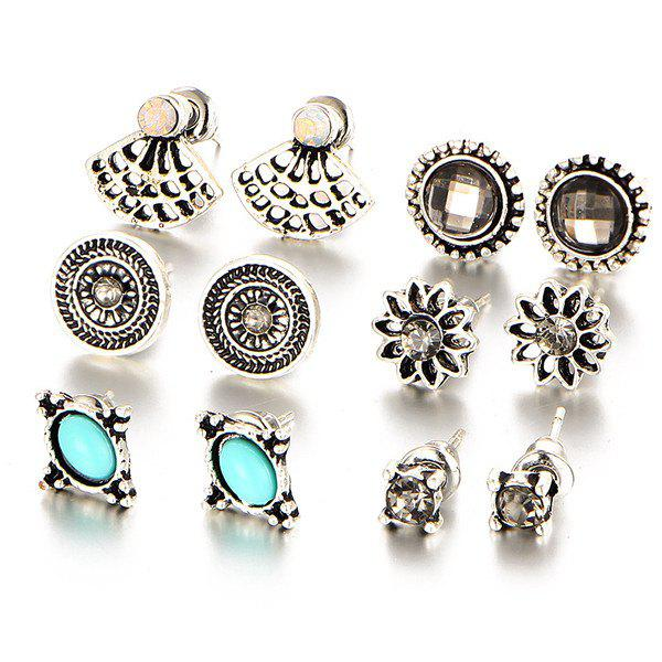 Vintage Rhinestone Flower Stud Earring SetJEWELRY<br><br>Color: SILVER; Earring Type: Stud Earrings; Gender: For Women; Style: Noble and Elegant; Shape/Pattern: Floral; Weight: 0.040kg; Package Contents: 1 x Earring (Suit);