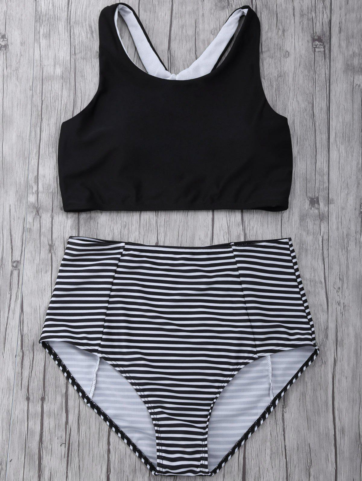 Online Striped High Waisted Padded Sports Bikini with Racerback Crop Top