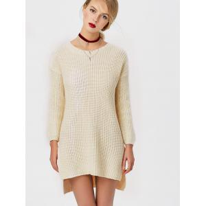 Crew Neck High Low Chunky Knit Sweater -