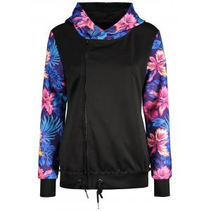 Floral Print Zip Up Hoodie With Oblique Zipper