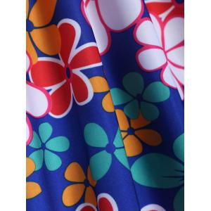 Refreshing Square Collar Floral Print Short Sleeve Swimsuit For Women - SAPPHIRE BLUE 4XL