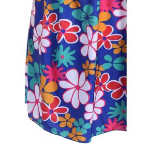 Refreshing Square Collar Floral Print Short Sleeve Swimsuit For Women - SAPPHIRE BLUE 6XL