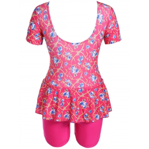 Graceful Scoop Neck Short Sleeve Floral Print Flounced Swimsuit For Women -