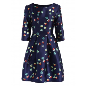 High Waist Knee Length Dress with Hearts Print