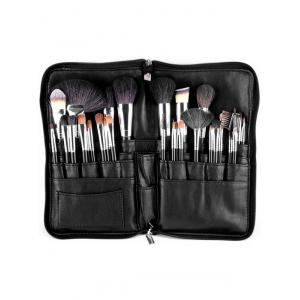 32 Pcs Animal Hair Makeup Brushes Set with Waist Bag - Black