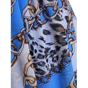 Graceful Plunging Neck Chain and Leopard Print Asymmetrical One-Piece Swimwear For Women - BLUE 4XL