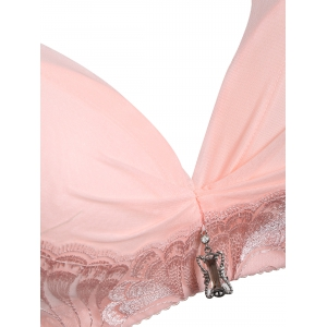 Full Cup Embroidered Push Up Bra For Plus Size -