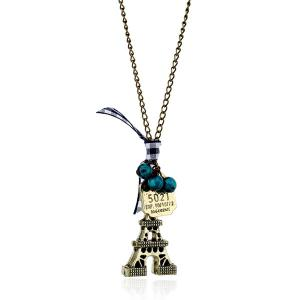 Eiffel Tower Bowknot Beads Sweater Chain
