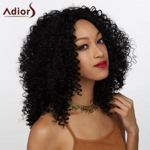 Adiors Long Middle Part Towheaded Curly Synthetic Wig - Black - 16inch