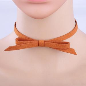 Punk Velvet Bowknot Choker - Light Brown