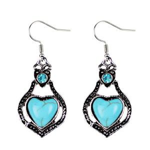 Faux Turquoise Heart Pendant Necklace and Earrings -