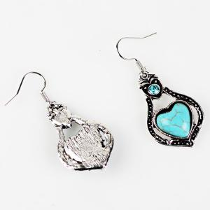 Faux Turquoise Heart Pendant Necklace and Earrings - CYAN
