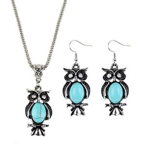 Faux Turquoise Owl Necklace and Earrings - Cyan