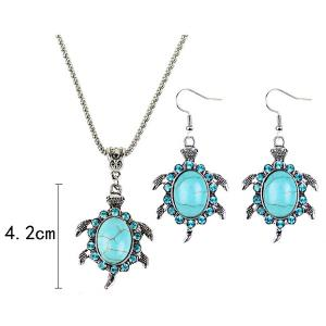 Faux Turquoise Tortoise Necklace and Earrings - CYAN