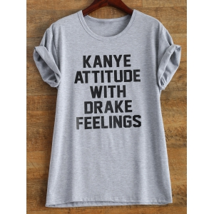 Letter Print Roll Sleeve Funny T-Shirt