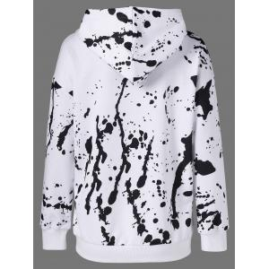 Splatter Paint Pullover Hoodie - WHITE AND BLACK XL